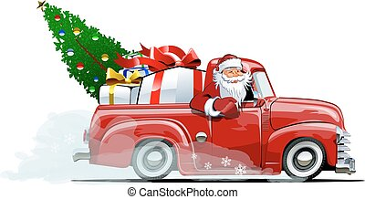caricatura, retro, natal, pickup
