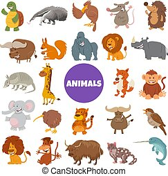 caricatura, selvagem, jogo, animal, caráteres, grande