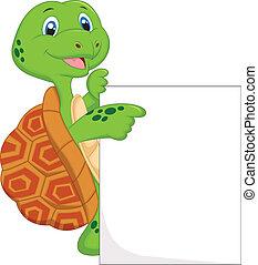 caricatura, sinal, tartaruga, cute, em branco