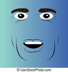 caricatura, surpreendido, rosto