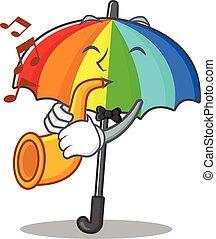 caricatura, tocando, arco íris, personagem, desenho, guarda-chuva, trompete