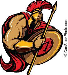 caricatura, trojan, spartan, mascote
