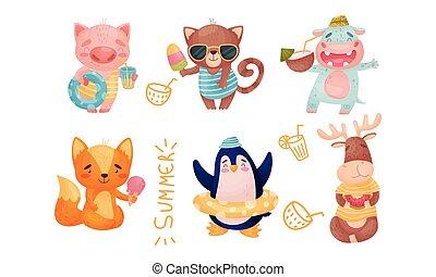 caricatura, tubo, bebendo, jogo, natação, coquetéis, animais, interior, vetorial