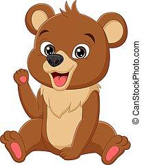 caricatura, urso, bebê, engraçado, sentando