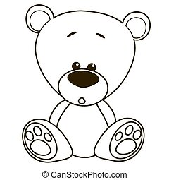 caricatura, urso, pelúcia