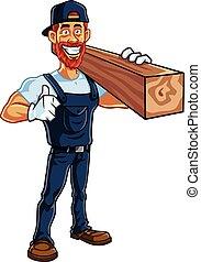 caricatura, vetorial, carpinteiro, mascote