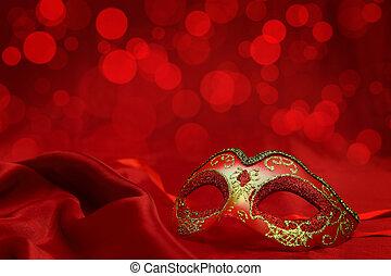 carnaval, vindima, máscara, veneziano, fundo, vermelho