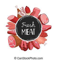 carne, linguiças, fazenda, chicken., carne, banner., alimento, vetorial, desenho, fresco, emblema, caricatura, mercado