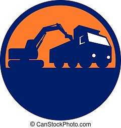 carregando, caminhão basculante, retro, mecânico, círculo, cavador