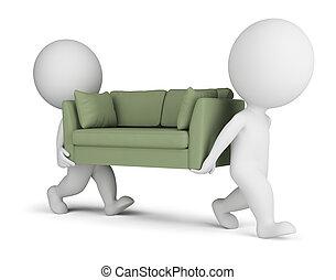 carregar, sofá, pequeno, 3d, pessoas
