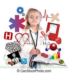 carreira, acadêmico, branca, criança, doutor