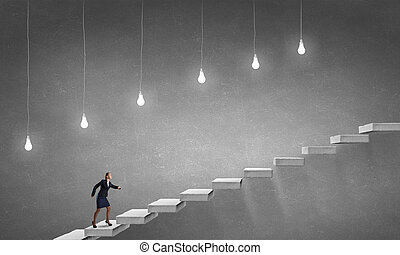 carreira, executando, escada