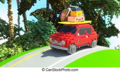 carro brinquedo, feriados, ir, 4k, animação