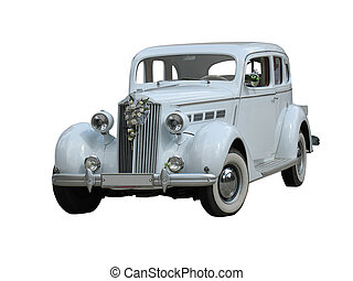carro vintage, isolado, retro, casório, branca, sonho, luxo
