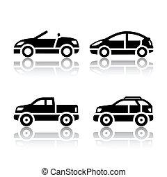 carros, jogo, -, transporte, ícones