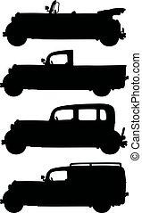 carros, silhuetas, pretas, vindima