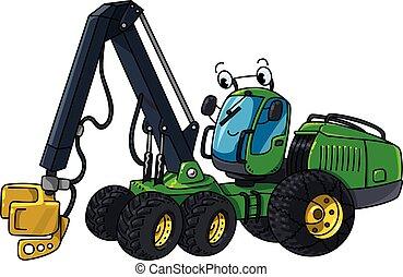 carros, silvicultura, engraçado, harvester, serra, maquinaria