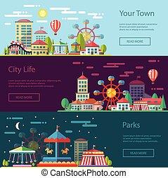 carrosséis, apartamento, cidade, modernos, ilustração, desenho, conceitual