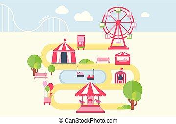carrosséis, mapa, estilo, elementos, apartamento, atrações, parque, ilustração, infographic, vetorial, divertimento