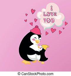 cartão, abraçando, pingüins, mãe, bebê