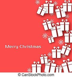 cartão, caixas, saudação, presente, natal