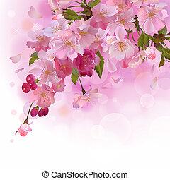 cartão, cereja, flores côr-de-rosa, ramo