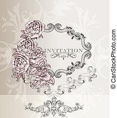 cartão, convite, casório, elegante