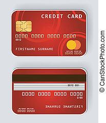 cartão crédito, fro, vermelho, conceito, operação bancária