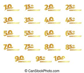 cartão, dourado, jogo, illustration., saudação, ícones, cor, isolado, aniversário, aniversário, fundo, vetorial, cobrança, branca, elementos, números