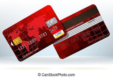 cartão, eps, costas, crédito, frente, 8, vista.
