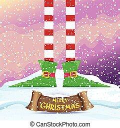 cartão, feliz, vetorial, elfs, natal, caricatura