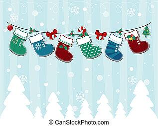 cartão, natal, pueril