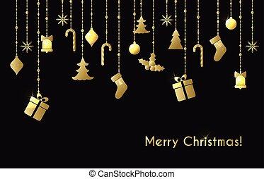cartão, natal, saudação, ouro, brinquedos