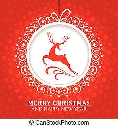 cartão natal, saudação, veado