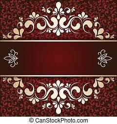 cartão, ouro, borgonha, fundo, ornamento