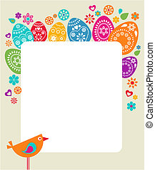 cartão, ovos, páscoa, colorido, modelo
