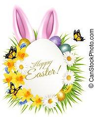 cartão, ovos, primavera, páscoa, feriado, grass., coloridos, obtendo, flores, vector.