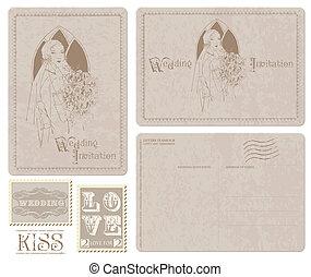cartão postal, convite, -, noiva, desenho, retro, casório, scrapbook