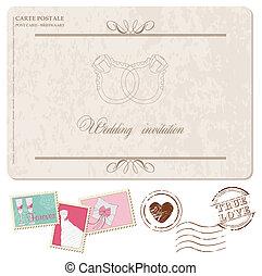 cartão postal, convite, -, selos, desenho, retro, casório, scrapbook