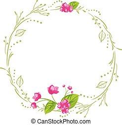 cartão postal, flores, cor-de-rosa, desenho, grinalda