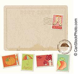 cartão postal, -, outono, selos, desenho, retro, convite, scrapbook