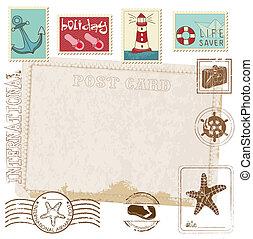 cartão postal, -, selos, desenho, retro, mar, convite, scrapbook