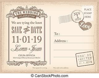 cartão postal, vindima, convite, fundo, casório, data, salvar