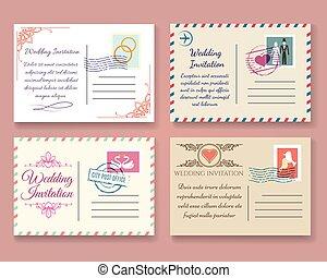 cartão postal, vindima, modelos, casório