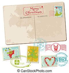 cartão postal, vindima, -, natal, convite, selos, saudações, scrapbook, desenho