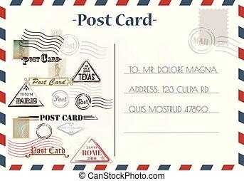 cartão postal, vindima, projetos, selos