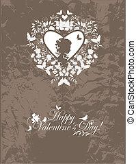 cartão postal, vindima, valentine