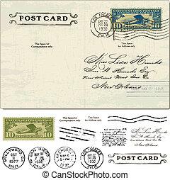 cartão postal, vindima, vetorial