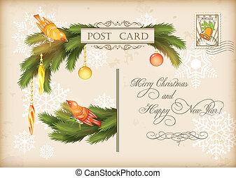 cartão postal, vindima, vetorial, feriado, natal