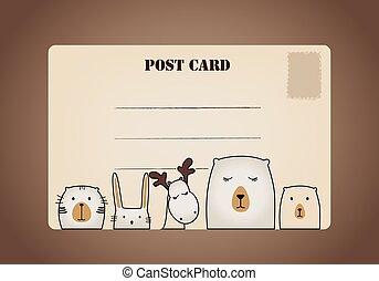 cartão postal, vindima, vetorial, ilustração, designs.